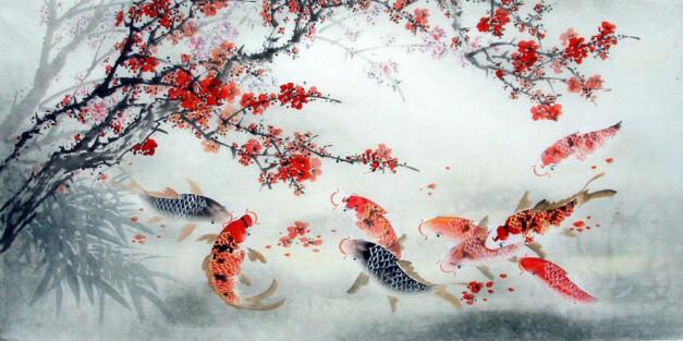 рисунок карпов рыбы